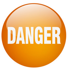 Danger orange round gel isolated push button vector