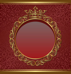 Decorative background with crown and golden frame vector