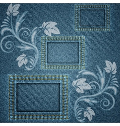 Denim blue background with three square frames vector