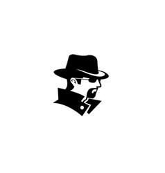 Detective hidden face beard logo vector