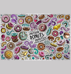 doodle cartoon set donuts objects and vector image