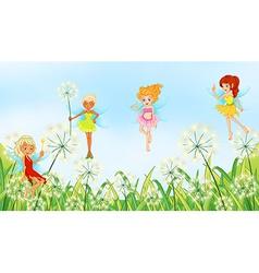 Fairies in the garden vector
