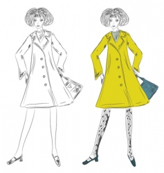 fashion girl in the coat vector image