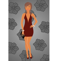 fashion glamor girl in dress vector image