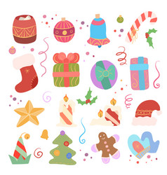 festive set different elements for new year vector image