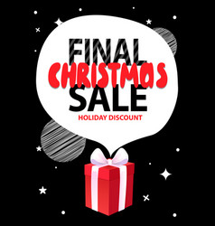 Final christmas sale holiday discount gift box vector