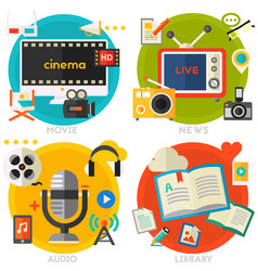 flat concept banners audio online library video vector image