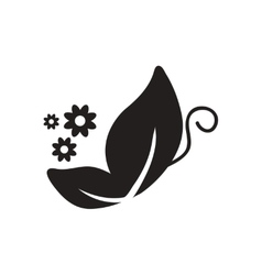 Flat icon in black and white butterfly vector