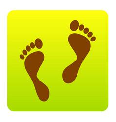 foot prints sign brown icon at green vector image