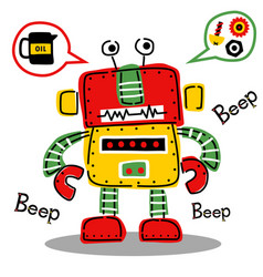 funny colorful robot cartoon vector image