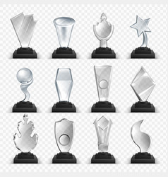 Glass awards 3d winner prizes from transparent vector