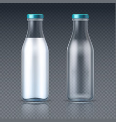 Glass beverage bottles empty and with milk dairy vector