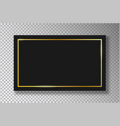 Golden frame on black plate on transparent vector