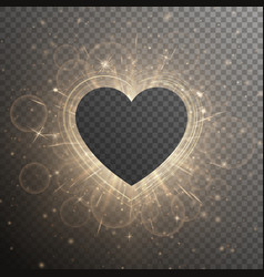Golden heart with light effect vector