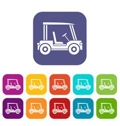 Golf club vehicle icons set flat vector