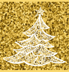 golg christmas tree card drawing christmas vector image