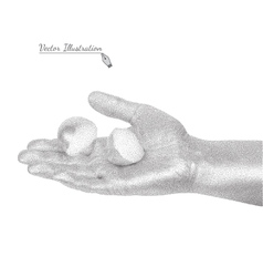 Hand holding eggshell in style black a white vector
