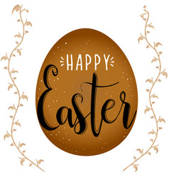 Happy easter calligraphy egg on white background vector