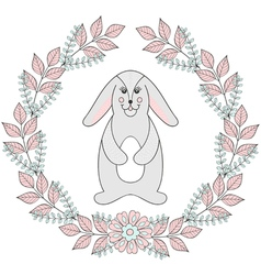 Happy Easter greeting card template Funny bunny vector image