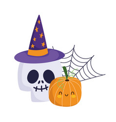 happy halloween skull with hat pumpkin and cobweb vector image