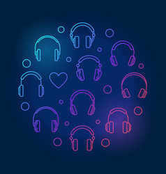 headphones line icons in circle shape vector image