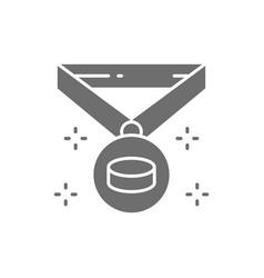 Hockey champion medal winner award trophy gray vector