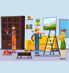 Home renovation workmen flat poster vector