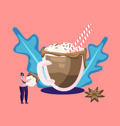 hot drink for autumn or winter cold season concept vector image