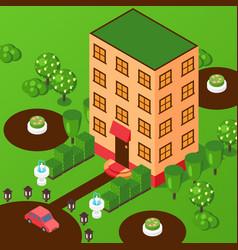 isometric house multi storey building vector image