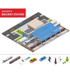 isometric infographic element railway vector image