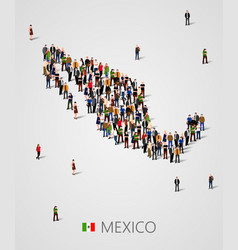 Large group people in form mexico map vector