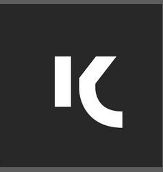 letter k logo bold font monogram minimalist style vector image