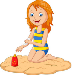 Little girl in a swimsuit applying sunblock lotion vector