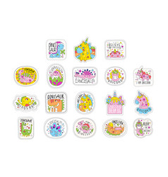 lovely unicorn patches set trendy colorful vector image