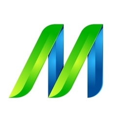 M letter leaves eco logo volume icon vector