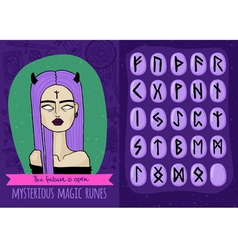 Magic set with freaky girl and mysterious runes vector image