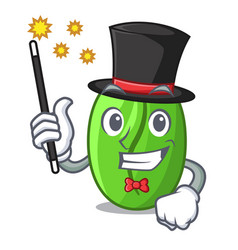 Magician green coffee beans isolated on mascot vector