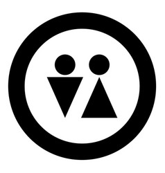 man and woman icon black color in circle vector image
