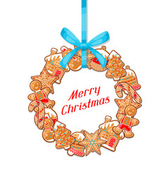 merry christmas greeting card with wreath of vector image