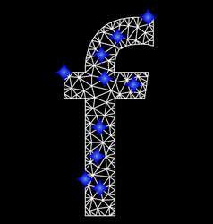 mesh letter f logo icon with blue diamonds vector image