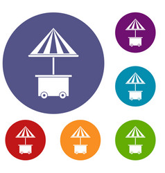 mobile cart with umbrella for sale food icons set vector image