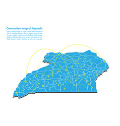 Modern of uganda map connections network design vector