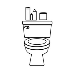 monochrome contour of toilet and toilet paper and vector image