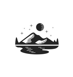 Mountain landscape logo design with moon stars vector
