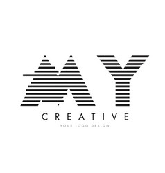 my m y zebra letter logo design with black and vector image