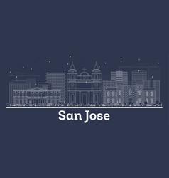 Outline san jose costa rica city skyline with vector