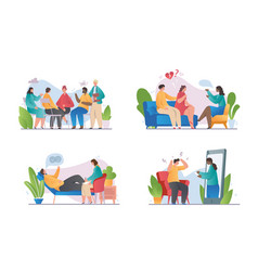People at reception a psychotherapist vector