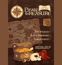 pirate treasure poster vector image
