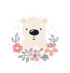 polar bear cute animal baby face with flowers vector image
