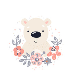 Polar bear cute animal baface with flowers and vector